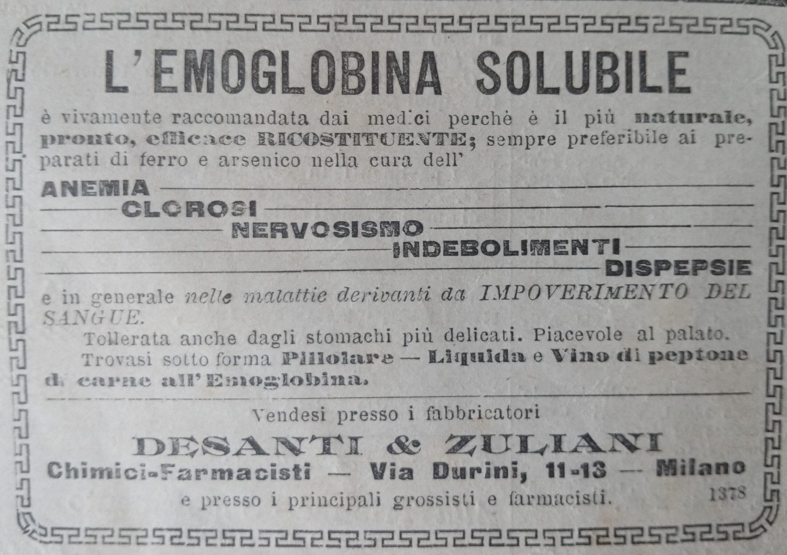 emoglobina solubile desanti & zuliani - pubblicità