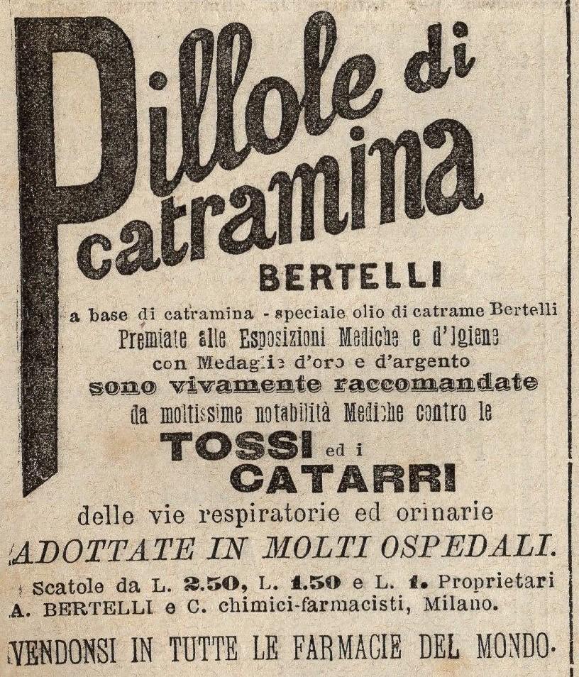 Pillole di catramina Bertelli - Pubblicità