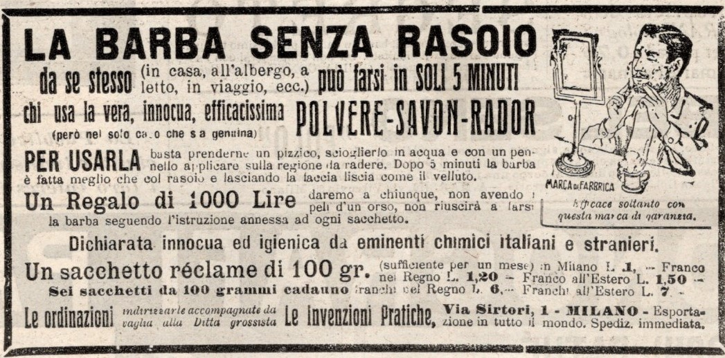 La barba senza rasoio - pubblicità 1907
